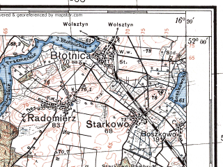 Reduced fragment of topographic map pl--wig--100k--P41S22--(1934)--N052-00_E015-50--N051-45_E016-20; towns and cities Wschowa, Slawa