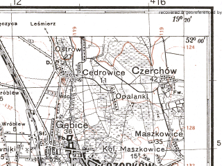Reduced fragment of topographic map pl--wig--100k--P41S28--(1930)--N052-00_E018-50--N051-45_E019-20; towns and cities Ozorkow, Aleksandrow Lodzki, Poddebice