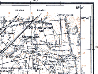 Reduced fragment of topographic map pl--wig--100k--P41S29--(1931)--N052-00_E019-20--N051-45_E019-50; towns and cities Zgierz, Strykow