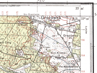 Reduced fragment of topographic map pl--wig--100k--P41S34--(1938)--N052-00_E021-50--N051-45_E022-20; towns and cities Stoczek Lukowski, Zelechow