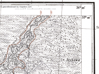 Reduced fragment of topographic map pl--wig--100k--P41S42--(1931)--N052-00_E025-50--N051-45_E026-20; towns and cities Zarechnoye, Morochnoye, Nen'kovichi