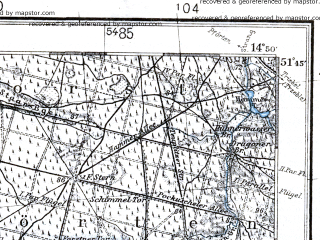 Reduced fragment of topographic map pl--wig--100k--P42S19--(1936)--N051-45_E014-20--N051-30_E014-50; towns and cities Spremberg, Forst, Leknica