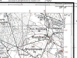 Reduced fragment of topographic map pl--wig--100k--P42S27--(1929)--N051-45_E018-20--N051-30_E018-50; towns and cities Sieradz, Warta