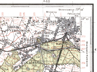 Reduced fragment of topographic map pl--wig--100k--P42S29--(1937)--N051-45_E019-20--N051-30_E019-50; towns and cities Lodz, Koluszki