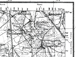 Reduced fragment of topographic map pl--wig--100k--P42S30--(1935)--N051-45_E019-50--N051-30_E020-20; towns and cities Tomaszow Mazowiecki
