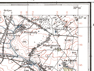 Reduced fragment of topographic map pl--wig--100k--P42S31--(1937)--N051-45_E020-20--N051-30_E020-50; towns and cities Mogielnica, Nowe Miasto