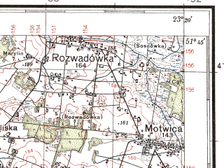 Reduced fragment of topographic map pl--wig--100k--P42S36--(1938)--N051-45_E022-50--N051-30_E023-20; towns and cities Parczew