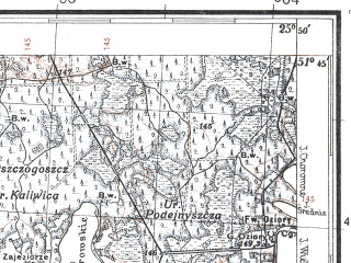 Reduced fragment of topographic map pl--wig--100k--P42S41--(1931)--N051-45_E025-20--N051-30_E025-50; towns and cities Derevok, Kukhotskaya Volya, Ozertsy