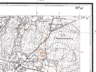 Reduced fragment of topographic map pl--wig--100k--P42S42--(1931)--N051-45_E025-50--N051-30_E026-20; towns and cities Voronki, Beloye, Borovoye