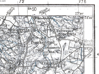 Reduced fragment of topographic map pl--wig--100k--P43S24--(1933)--N051-30_E016-50--N051-15_E017-20; towns and cities Trzebnica, Zmigrod