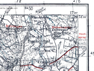 Reduced fragment of topographic map pl--wig--100k--P43S24--(1939)--N051-30_E016-50--N051-15_E017-20; towns and cities Trzebnica, Zmigrod
