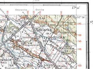 Reduced fragment of topographic map pl--wig--100k--P43S25--(1934)--N051-30_E017-20--N051-15_E017-50; towns and cities Sycow, Twardogora, Miedzyborz