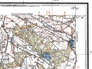 Reduced fragment of topographic map pl--wig--100k--P43S26--(1936)--N051-30_E017-50--N051-15_E018-20; towns and cities Ostrzeszow, Wieruszow