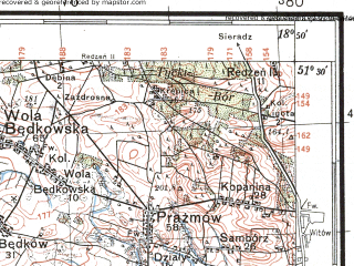 Reduced fragment of topographic map pl--wig--100k--P43S27--(1934)--N051-30_E018-20--N051-15_E018-50; towns and cities Zloczew
