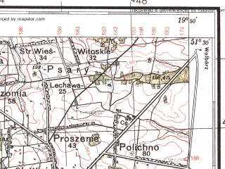 Reduced fragment of topographic map pl--wig--100k--P43S29--(1937)--N051-30_E019-20--N051-15_E019-50; towns and cities Piotrkow Trybunalski, Belchatow