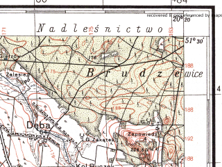 Reduced fragment of topographic map pl--wig--100k--P43S30--(1937)--N051-30_E019-50--N051-15_E020-20; towns and cities Opoczno, Sulejow