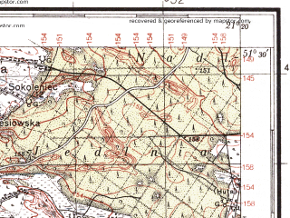 Reduced fragment of topographic map pl--wig--100k--P43S32--(1938)--N051-30_E020-50--N051-15_E021-20; towns and cities Radom