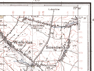 Reduced fragment of topographic map pl--wig--100k--P43S34--(1937)--N051-30_E021-50--N051-15_E022-20; towns and cities Pulawy, Kazimierz Dolny, Naleczow