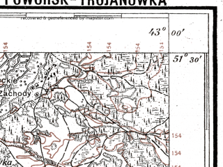 Reduced fragment of topographic map pl--wig--100k--P43S40--(1927)--N051-30_E024-50--N051-15_E025-20; towns and cities Karasin, Povorsk, Soshichno