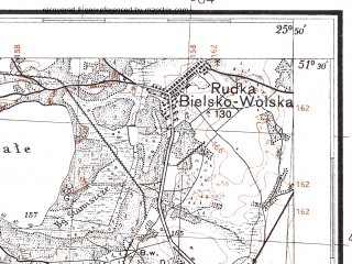 Reduced fragment of topographic map pl--wig--100k--P43S41--(1931)--N051-30_E025-20--N051-15_E025-50; towns and cities Manevichi, Prilesnoye, Bel'skaya Volya