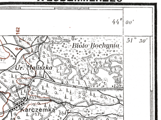 Reduced fragment of topographic map pl--wig--100k--P43S42--(1927)--N051-30_E025-50--N051-15_E026-20; towns and cities Vladimirets, Antonovka, Dolgovolya, Gorodets