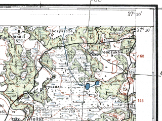 Reduced fragment of topographic map pl--wig--100k--P43S44--(1933)--N051-30_E026-50--N051-15_E027-20; towns and cities Klesov, Rokitno, Rokitnoye