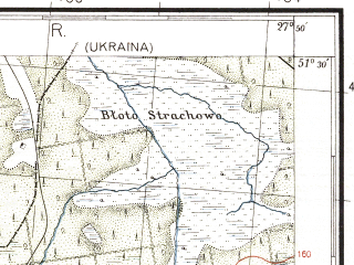 Reduced fragment of topographic map pl--wig--100k--P43S45--(1937)--N051-30_E027-20--N051-15_E027-50; towns and cities Belovezh, Blazhovo, Sushchany