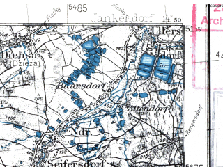 Reduced fragment of topographic map pl--wig--100k--P44S19--(1936)--N051-15_E014-20--N051-00_E014-50; towns and cities Bautzen, Lobau