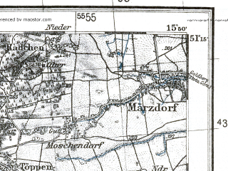Reduced fragment of topographic map pl--wig--100k--P44S21--(1936)--N051-15_E015-20--N051-00_E015-50; towns and cities Lwowek Slaski