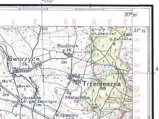 Reduced fragment of topographic map pl--wig--100k--P44S30--(1937)--N051-15_E019-50--N051-00_E020-20; towns and cities Przedborz, Zarnow