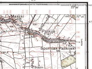 Reduced fragment of topographic map pl--wig--100k--P44S34--(1938)--N051-15_E021-50--N051-00_E022-20; towns and cities Poniatowa, Opole Lubelskie