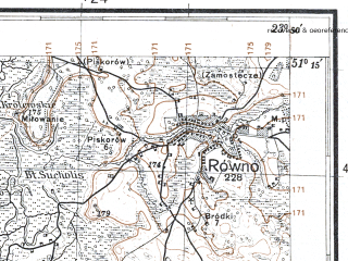 Reduced fragment of topographic map pl--wig--100k--P44S37--(1931)--N051-15_E023-20--N051-00_E023-50; towns and cities Chelm, Dorohusk, Rovnoye