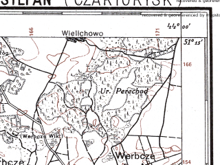 Reduced fragment of topographic map pl--wig--100k--P44S42--(1928)--N051-15_E025-50--N051-00_E026-20; towns and cities Chornyzh, Goraymovka, Kholonevichi