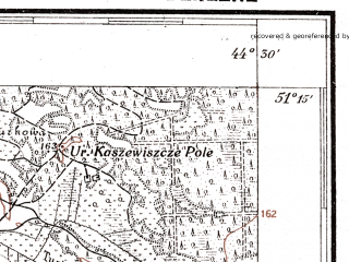 Reduced fragment of topographic map pl--wig--100k--P44S43--(1927)--N051-15_E026-20--N051-00_E026-50; towns and cities Kamenno-sluchanskoye, Korost, Krychil'sk