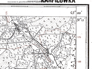 Reduced fragment of topographic map pl--wig--100k--P44S44--(1928)--N051-15_E026-50--N051-00_E027-20; towns and cities Borovoye, Karpilovka, Kisorichi