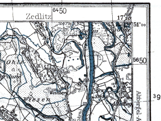 Reduced fragment of topographic map pl--wig--100k--P45S24--(1933)--N051-00_E016-50--N050-45_E017-20; towns and cities Olawa, Strzelin, Wiazow