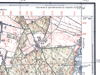 Reduced fragment of topographic map pl--wig--100k--P45S29--(1935)--N051-00_E019-20--N050-45_E019-50; towns and cities Koniecpol