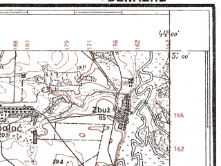 Reduced fragment of topographic map pl--wig--100k--P45S42--(1927)--N051-00_E025-50--N050-45_E026-20; towns and cities Tsuman', Berestyany, Derazhnoye, Dyuksin