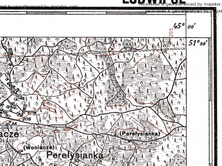 Reduced fragment of topographic map pl--wig--100k--P45S44--(1935)--N051-00_E026-50--N050-45_E027-20; towns and cities Gorodnitsa, Gubkov, Khotyn', Marinin