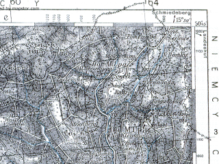 Reduced fragment of topographic map pl--wig--100k--P46S21--(1936)--N050-45_E015-20--N050-30_E015-50; towns and cities Vrchlabi