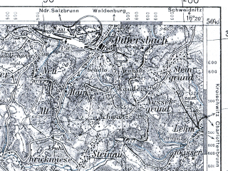 Reduced fragment of topographic map pl--wig--100k--P46S22--(1936)--N050-45_E015-50--N050-30_E016-20; towns and cities Boguszow-gorce, Trutnov, Lubawka, Mieroszow