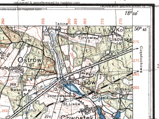 Reduced fragment of topographic map pl--wig--100k--P46S27--(1933)--N050-45_E018-20--N050-30_E018-50; towns and cities Lubliniec