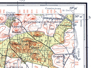 Reduced fragment of topographic map pl--wig--100k--P46S28--(1934)--N050-45_E018-50--N050-30_E019-20; towns and cities Wozniki