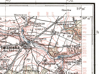 Reduced fragment of topographic map pl--wig--100k--P46S32--(1938)--N050-45_E020-50--N050-30_E021-20; towns and cities Staszow, Bogoria