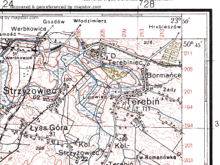 Reduced fragment of topographic map pl--wig--100k--P46S37--(1936)--N050-45_E023-20--N050-30_E023-50; towns and cities Laszczow