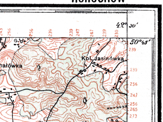 Reduced fragment of topographic map pl--wig--100k--P46S39--(1926)--N050-45_E024-20--N050-30_E024-50; towns and cities Ivanichi, Gorokhov, Lokachi, Luchitsy, Pavlovka