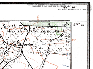 Reduced fragment of topographic map pl--wig--100k--P46S43--(1924)--N050-45_E026-20--N050-30_E026-50; towns and cities Bochanitsa, Simonov, Bugrin