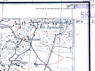 Reduced fragment of topographic map pl--wig--100k--P46S43--(1930)--N050-45_E026-20--N050-30_E026-50; towns and cities Simonov, Bugrin, Sinev