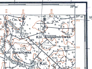 Reduced fragment of topographic map pl--wig--100k--P46S46--(1931)--N050-45_E027-50--N050-30_E028-20; towns and cities Simony, Tupal'tsy, Andreyevichi