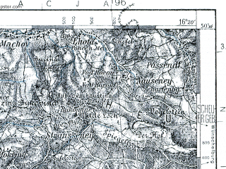 Reduced fragment of topographic map pl--wig--100k--P47S22--(1936)--N050-30_E015-50--N050-15_E016-20; towns and cities Kudowa-zdroj, Jaromer, Nachod